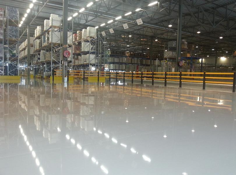 Resin flooring for industrial manufacturing and warehouses